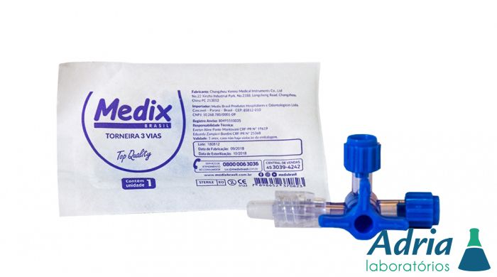 Torneira 3 Vias Descartável, Estéril C/ 05Unidades Medix