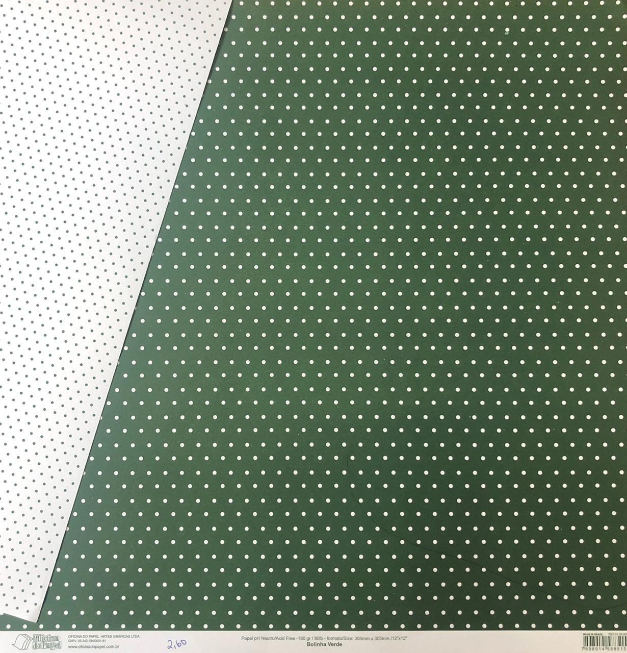 Papel Scrap - Bolinha Verde - Oficina do Papel (0104005)