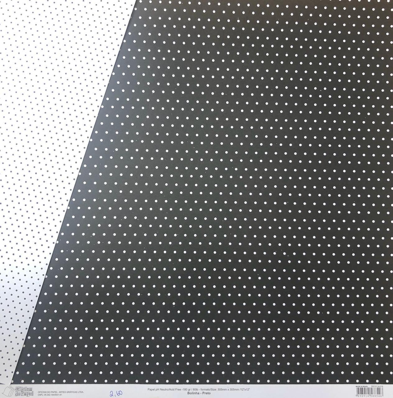 Papel Scrap - Bolinha Preto - Oficina do Papel (0104018)