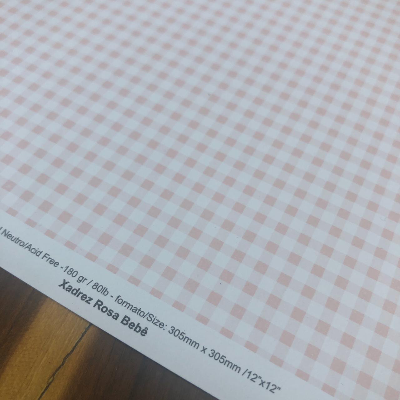 Papel Scrap - Xadrez Rosa Bebê - Oficina do Papel (0111002)