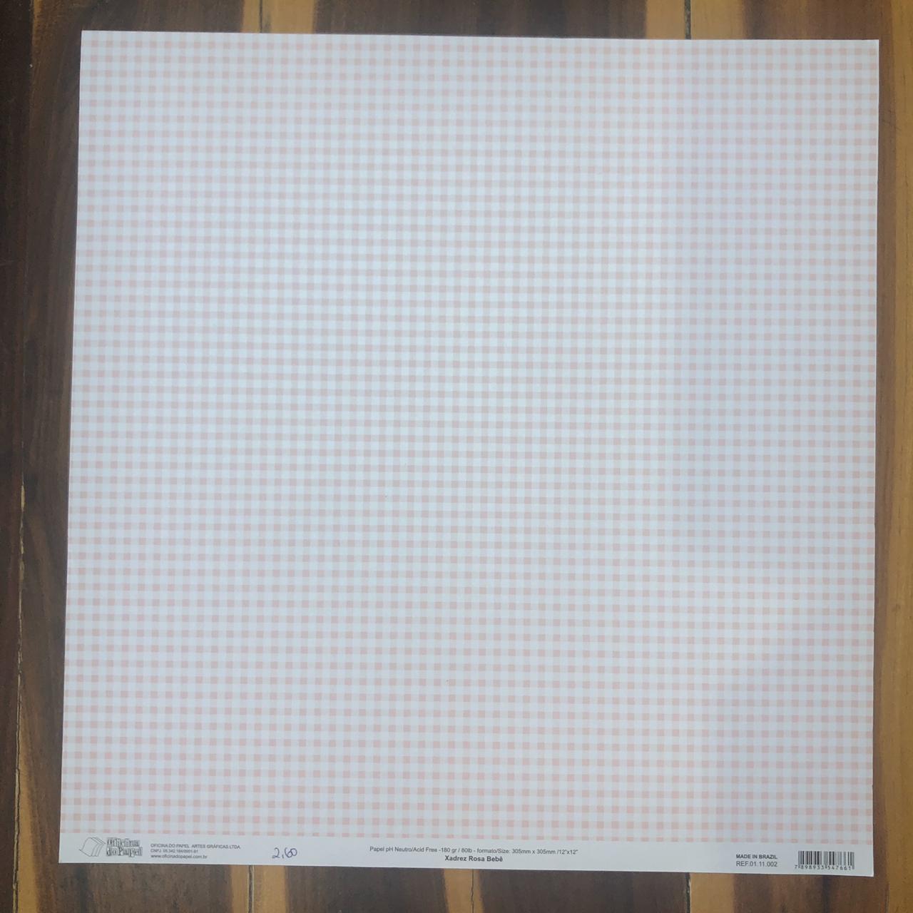 01.11.002 - Papel Scrap - Xadrez Rosa Bebê - Oficina do Papel