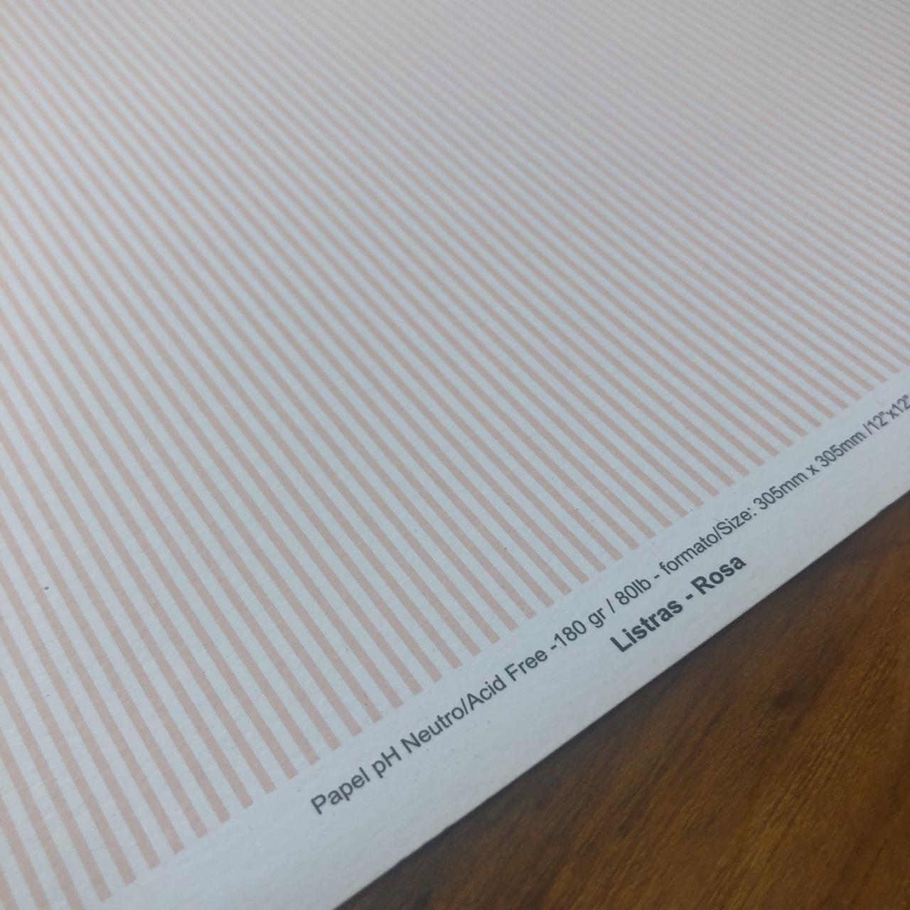 Papel Scrap - Listras Rosa - Oficina do Papel (0138001)