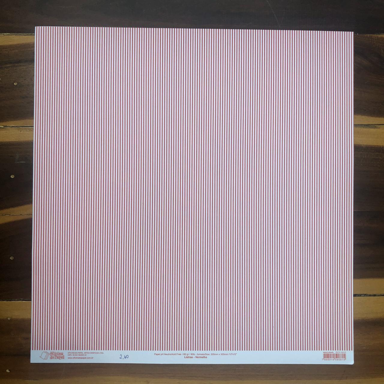 Papel Scrap - Listras Vermelho - Oficina do Papel (0138013)