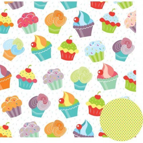 Papel Scrap - Cupcakes - Coleção Feliz Aniversário - Oficina do Papel (0175100)