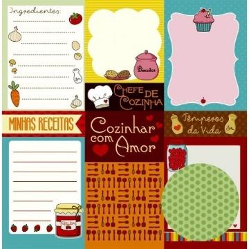 Papel Scrap - Cartões - Na Cozinha - Oficina do Papel (0184100)