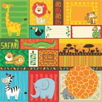 Papel Scrap - Cartões - Safari - Oficina do Papel (01.88.400)
