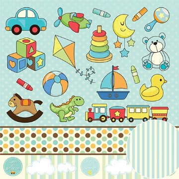 01.90.200 - Papel Scrap - Brinquedos - Meu Menino - Oficina do Papel