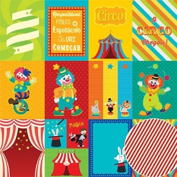 Papel Scrap - No Circo - Coleção No Circo - Oficina do Papel (0203100)