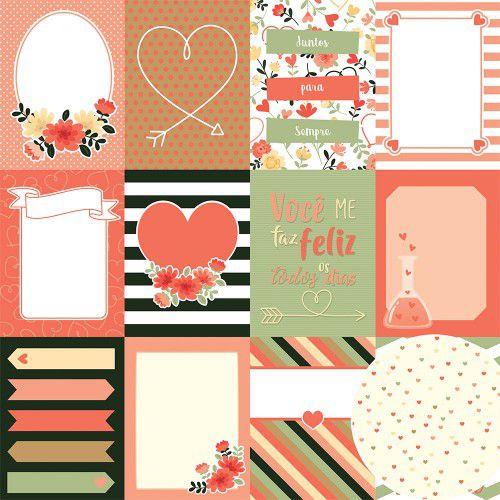 02.04.600 - Papel Scrap - Cards - Coleção Para Sempre - Oficina do Papel