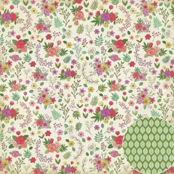 02.09.300 - Papel Scrap - Mini Flores - Jardineira - Oficina do Papel