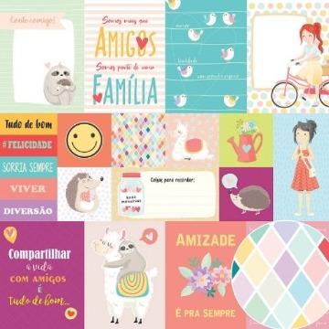 Papel Scrap - Cards - Amigos do Coração - Oficina do Papel (0210600)
