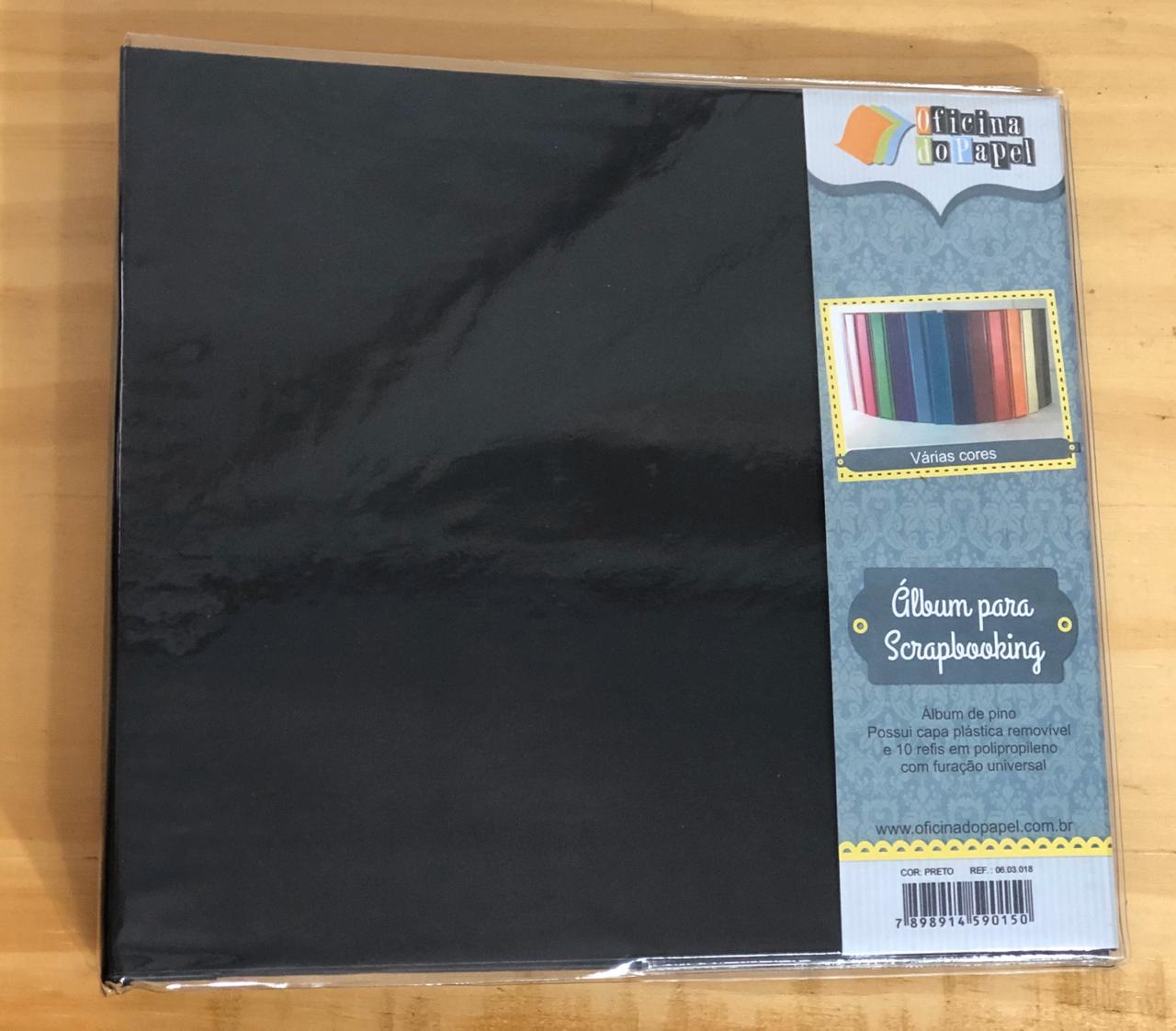 Álbum Scrapbook M - Preto - Oficina do Papel (0603018)