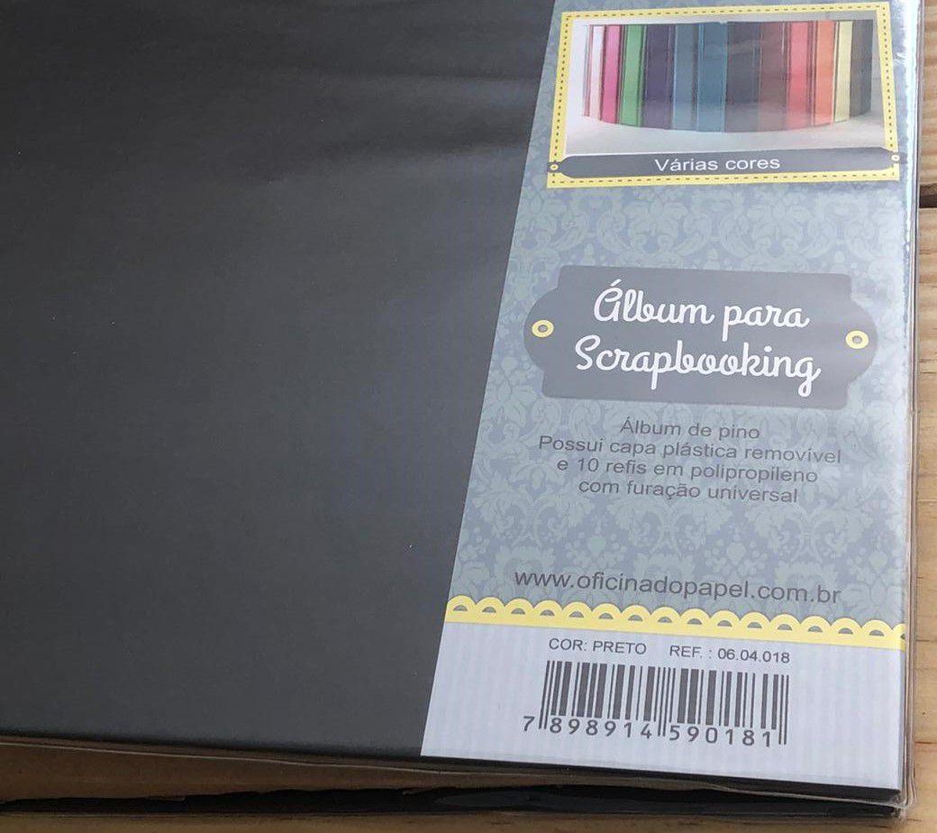 06.04.018 - Álbum para Scrapbooking G - Preto - Oficina do Papel