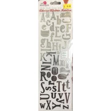 10120 - Adesivo Alfabeto Metálico - Prata - Art e Montagem
