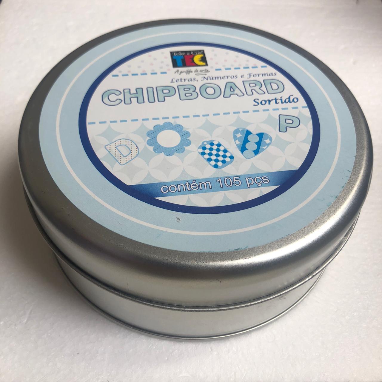 Chipboard Sortido Azul Claro com 105 peças - Toke e Crie (10271)
