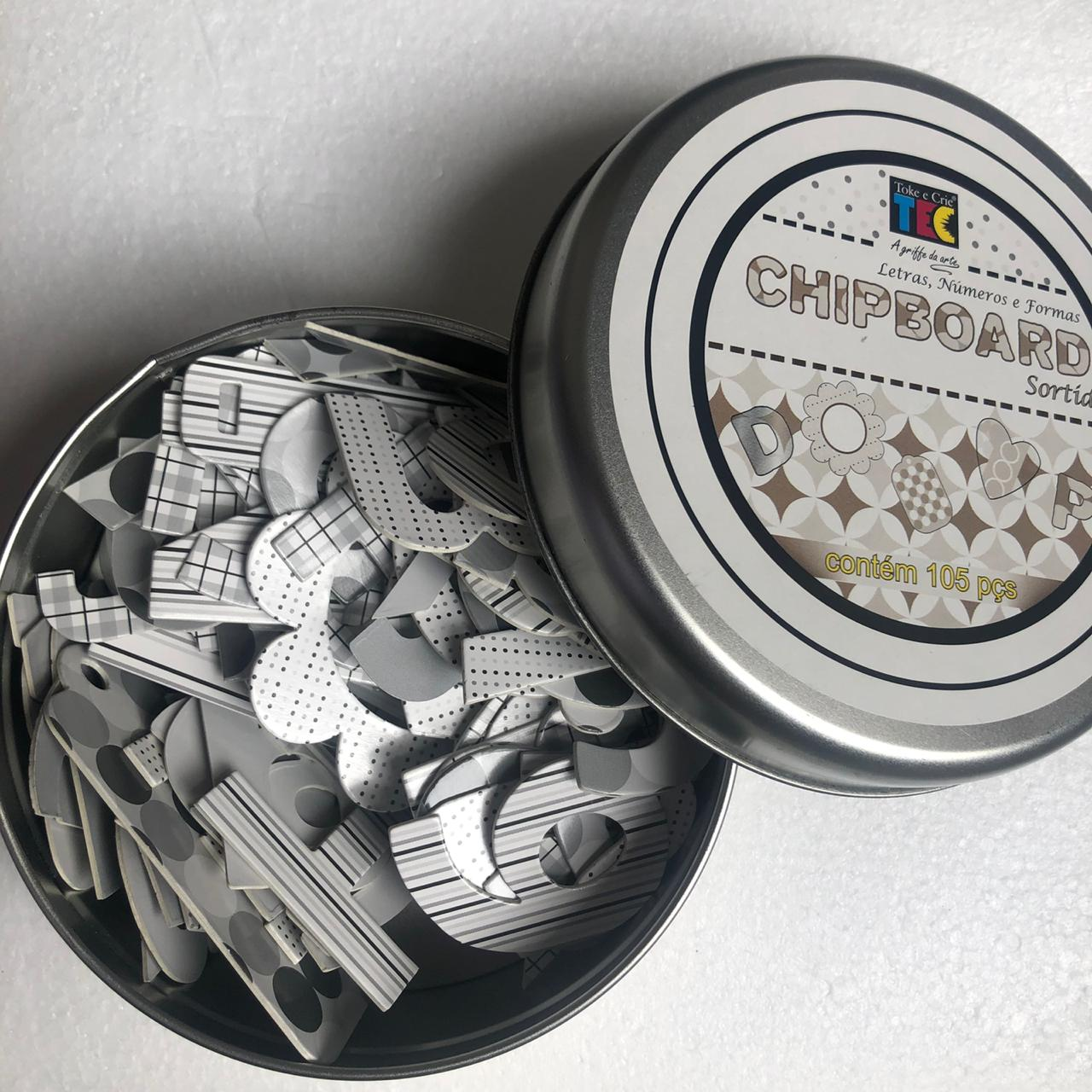 Chipboard Sortido Preto e Branco com 105 peças - Toke e Crie (10273)