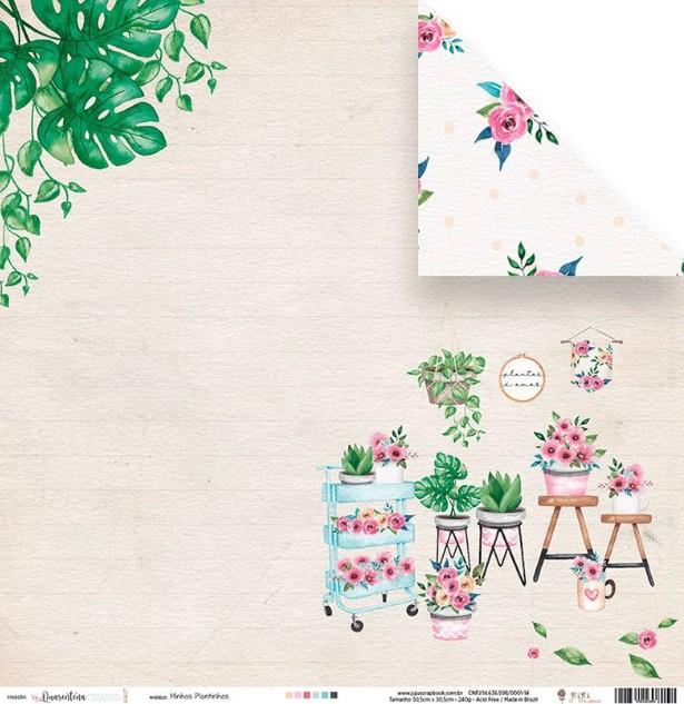 Papel scrap - Minhas plantinhas - Coleção Quarentena Criativa - Juju Scrapbook (10831)