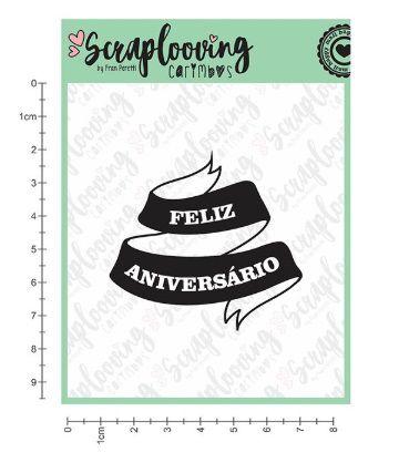 Carimbo Banner Feliz Aniversário - Scraplooving (1224)