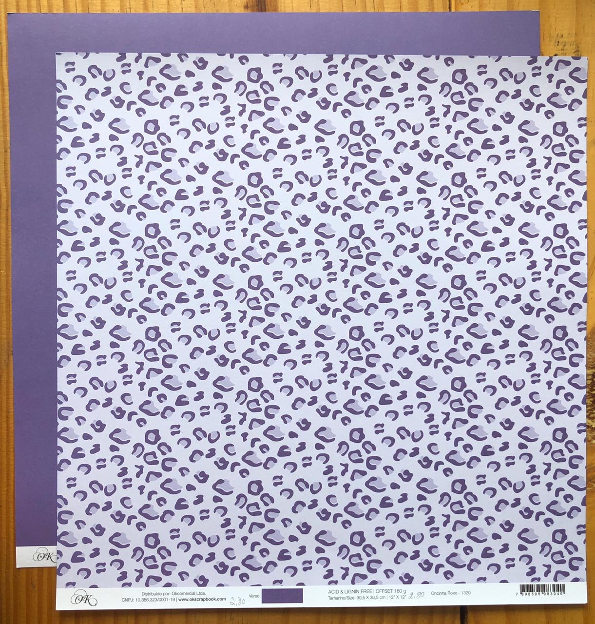 Papel Scrap - Oncinha Roxo - Ok Scrapbook (1320)