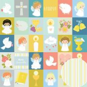 02.07.400 - Papel Scrap - Quadrinhos - Sacramentos - Oficina do Papel