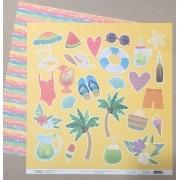 Papel Scrap - Recortes - Coleção Verão 20 - Oficina do Papel (0212400)