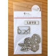 Cartela de Enfeites - Love - Coleção Amizade é Tudo - Juju Scrapbook (10035)