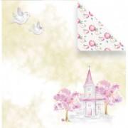 Papel scrap - A paz mora aqui - Coleção Vai com fé - Juju Scrapbook (10167)