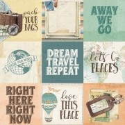 Papel Scrap - 4x4 Elements - Simple Vintage Traveler - Simple Stories (10458)