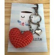 1657 - Chaveiro Amigurumi Coração Laranja - Pingente Coração Prata - Ponto Arte
