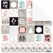 Papel Scrap - Amor e Mais Amor! - Coleção Felizes para Sempre - Juju Scrapbook (22291)