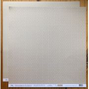 2257 - Papel Scrap - Poá Médio Branco com Bege - Ok Scrapbook