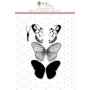22980 - Carimbo Borboleta Camadas - Coleção Shabby Dreams - Juju Scrapbook