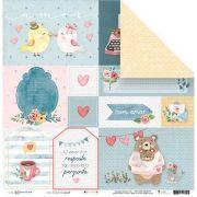 Papel Scrap - O Amor é a Resposta - Coleção Abraço de Urso - Juju Scrapbook (23166)