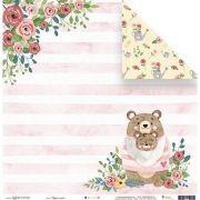Papel Scrap - Regue o Amor - Coleção Abraço de Urso - Juju Scrapbook (23169)