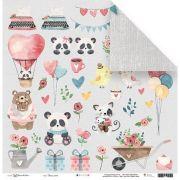 23170 - Papel Scrap - Vamos Sorrir - Coleção Abraço de Urso - Juju Scrapbook