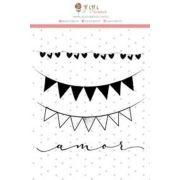 23256 - Cartela Carimbos Bandeirinhas - Coleção Abraço de Urso - Juju Scrapbook