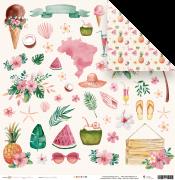 Papel Scrap - Férias de Verão - Coleção Paraíso Tropical - Juju Scrapbook (23596)
