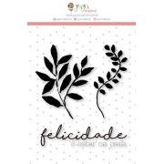 23654 - CARIMBO M - Felicidade é Estar na Praia - Coleção Paraíso Tropical - Juju Scrapbook