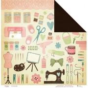 Papel scrap - Feito com amor - Coleção Love scrap - Juju Scrapbook (2948)