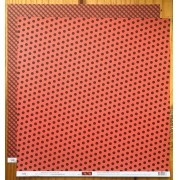 Papel Scrap - Poá e Xadrez Grande Vermelho Amor e Preto - Ok Scrapbook (3001)