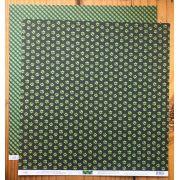 Papel Scrap - Patinhas e Xadrez Verde Laser e Preto - Ok Scrapbook (3002)
