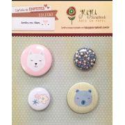 Cartela de Bottons - Gato - Coleção Sonhos nos Alpes - Juju Scrapbook (5009)