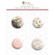Cartela de Bottons - Love - Coleção Shabby Dreams - Juju Scrapbook (8041)