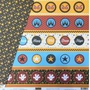 Papel Scrap - Festa Magic Tags com Estrelas - Coleção Disney - Ok Scrapbook (8504)