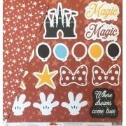 Papel Scrap - Festa Magic World com Estrelas - Coleção Disney - Ok Scrapbook (8506)
