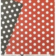 Papel Scrap - Bolas Mágicas Branco com Vermelho e Preto - Coleção Disney - Ok Scrapbook (8508)