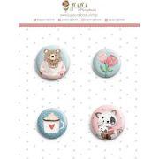 Cartela de Bottons - Bichinhos - Coleção Abraço de Urso - Juju Scrapbook (8511)