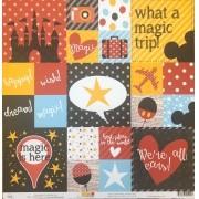 Papel Scrap - Travel Magic Cards - Coleção Disney - Ok Scrapbook (Ok8515)