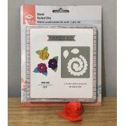(866-013-001) - Placa de corte 13,9 x 15 cm em metal - Flor espiral