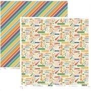 Papel Scrap - Setas e Listras Diagonais Viagem - Ok Scrapbook (9519)